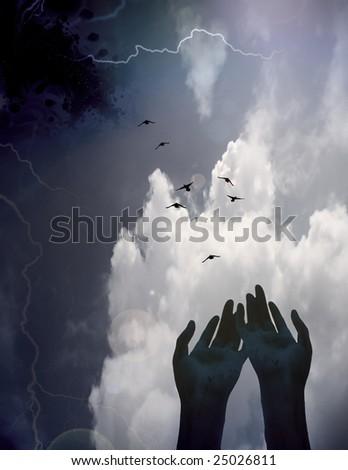 Hands reaching - stock photo