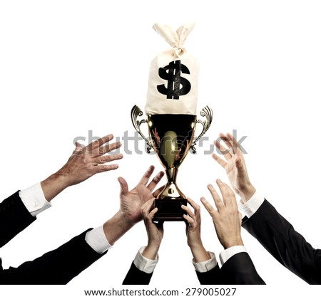 hands reaching for trophy and money bag isolated on a white background - stock photo