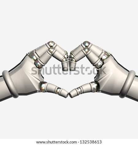 Hands Robot Heart - stock photo
