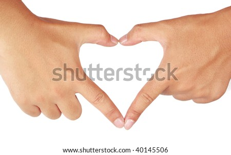 Hands shaping a heart. Isolated on white background. - stock photo