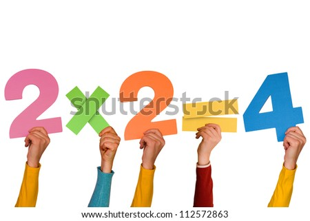 Hands showing simple mathematical formula. Isolated on white background. - stock photo