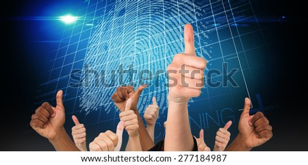 Hands showing thumbs up against digital security finger print scan - stock photo
