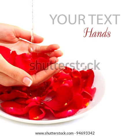 Hands Spa. Manicure concept over white - background - stock photo