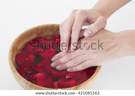 Hands Spa.Manicure concept. Woman hands with wooden bowl of water with red roses petals - stock photo