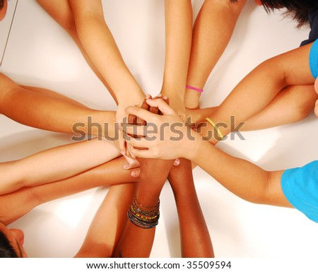 hands stack together - stock photo