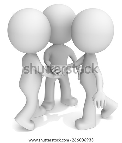 Hands 4 success.  The dude 3D character with Hands Lying On Each Other. - stock photo