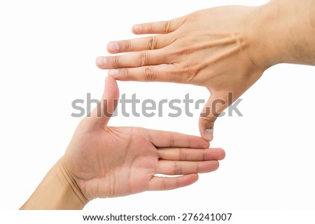 hands symbol that means frame over white background - stock photo