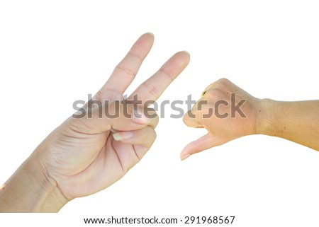 Hands, two fingers and a thumb down sign isolated on white background. - stock photo