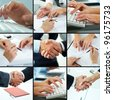 Hands typing, shaking, pointing, showing in different business situations - stock photo