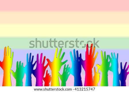 Hands up color background isolated, gay lesbian homosexual greeting concept. - stock photo