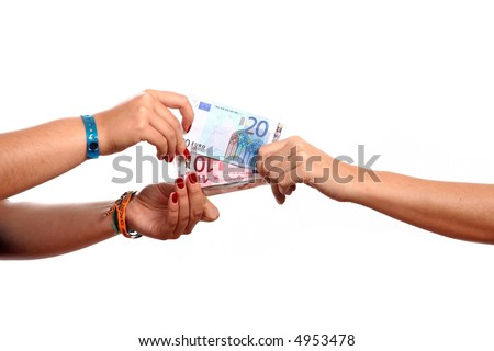 hands width cash on white - stock photo