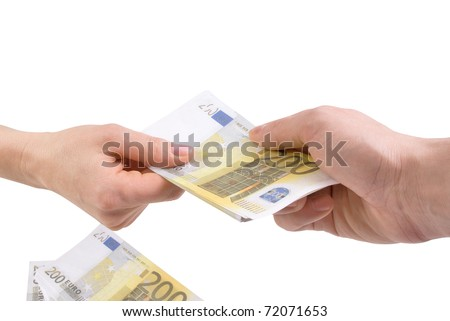 Hands with banknotes two hundred euros - stock photo