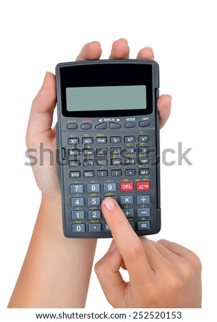hands with calculator isolated on white background - stock photo