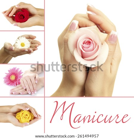 Hands with french manicure and flower isolated on white in collage - stock photo