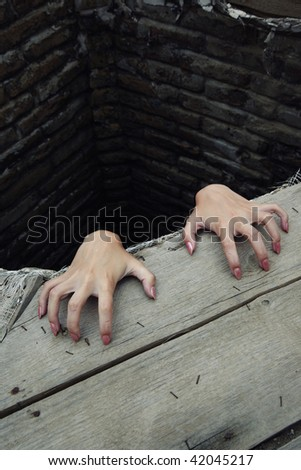 Hands with good manicure of the woman in the deep rural reservoir - stock photo