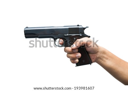 Hands with gun ready to shoot isolated on white background , 11 MM ,gun has World war 2 - stock photo