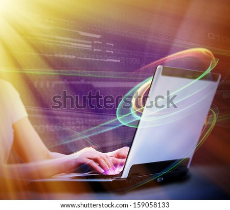 Hands with laptop tech futuristic collage background. - stock photo