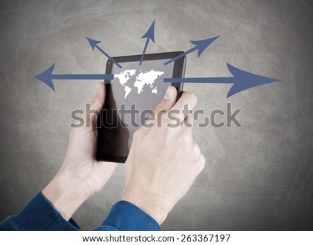 hands with mobile tablet, globalization - stock photo