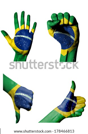 hands with multiple gestures (open palm, closed fist, thumbs up and down) with Brazil flag painted isolated on white - stock photo