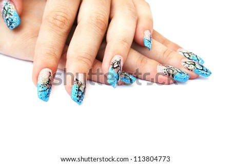 Hands with nail art isolated on white background. - stock photo