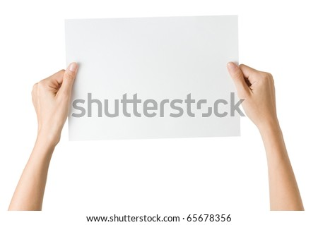 hands with paper isolated - stock photo