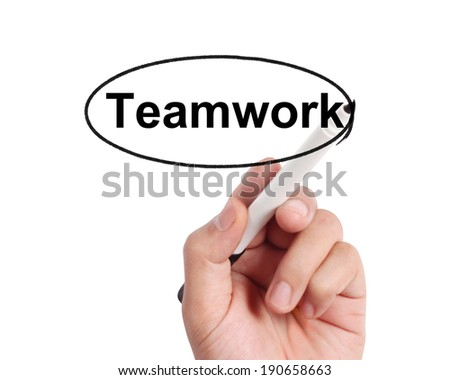 hands with pen writting something  - stock photo