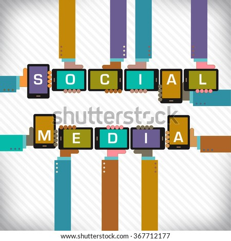 Hands with smart phones spell social media  - stock photo