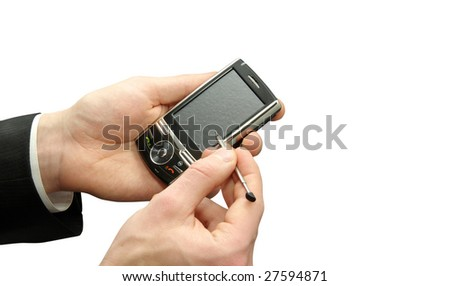 hands with smartphone - stock photo