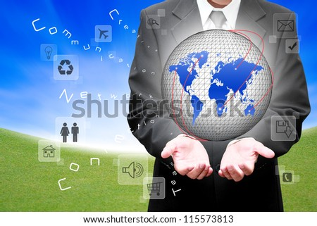 Hands with Social network and communication in the global computer networks - stock photo