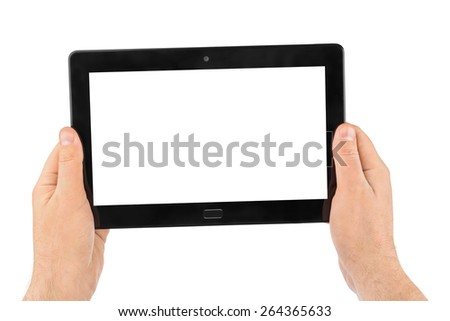 Hands with touchpad pc isolated on white background - stock photo