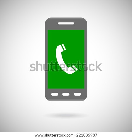 Handset sign in phone Icon Symbol. Flat Design collection - stock photo