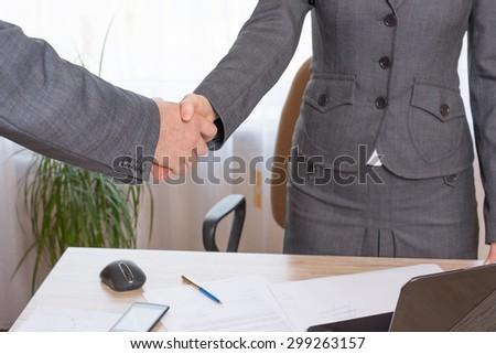handshake agreement achieved fixing agreements - stock photo