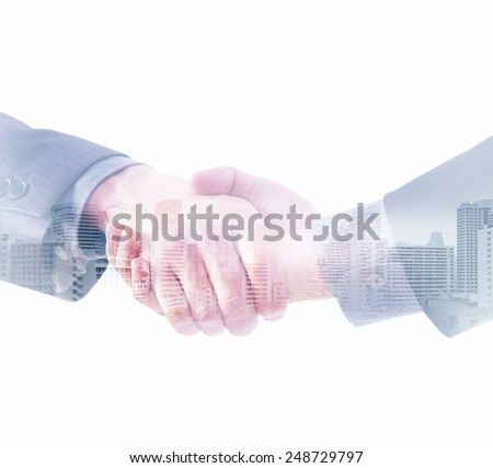 Handshake and a city. Double exposure creative concept. - stock photo