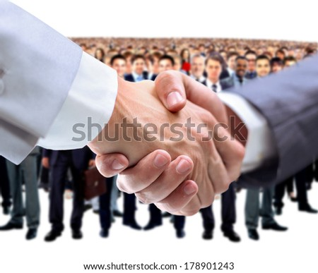 handshake and business team - stock photo