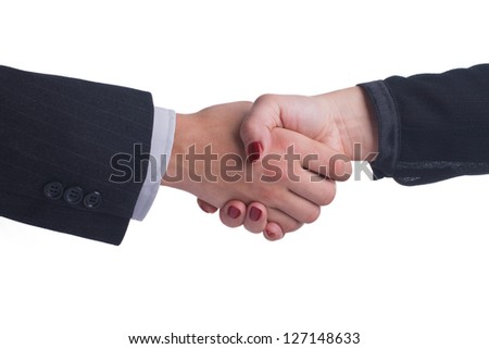 Handshake between female and male hand in a business style isolated on white background - stock photo