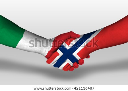 Handshake between norway and italy flags painted on hands, illustration with clipping path. - stock photo