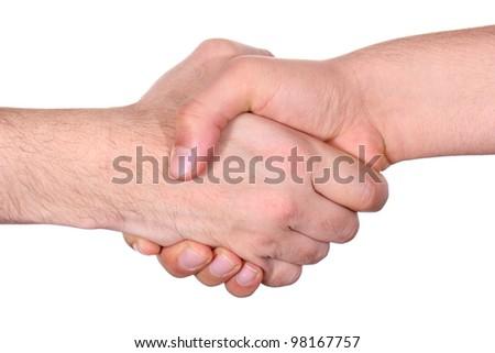 handshake between two business people - stock photo