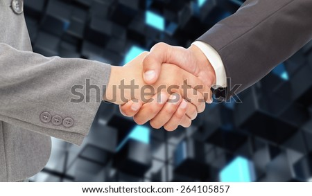 Handshake between two business people against blue and black tile design - stock photo