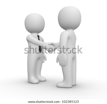 Handshake between two businessman - stock photo