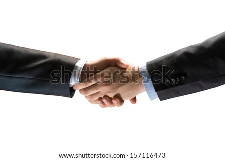 handshake between two businessmen, isolated on white background - stock photo