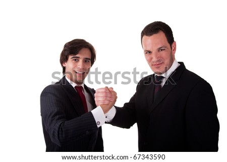 handshake between two businessmen smiling, isolated on white, studio shot - stock photo