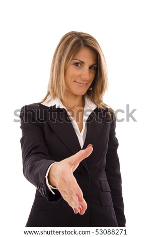 Handshake - Businesswoman offering a business deal - stock photo
