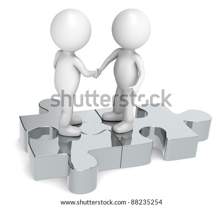 Handshake. 3d little human character X2 shaking hands on a Jigsaw Puzzle. Metal. - stock photo
