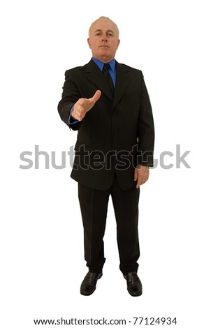 Handshake deal with businessman - stock photo