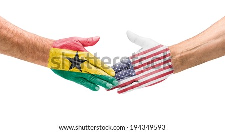 Handshake Ghana and USA - stock photo