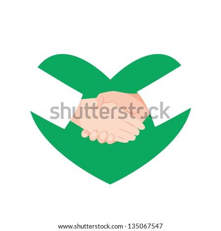 Handshake heart - stock photo