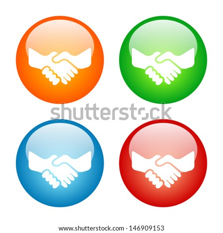 Handshake Icon Colorful Glass Icon Set.  Raster version, vector also available. - stock photo