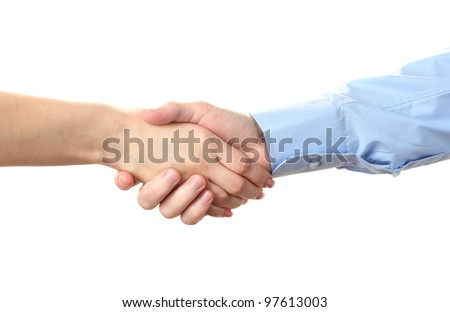 handshake isolated on white - stock photo