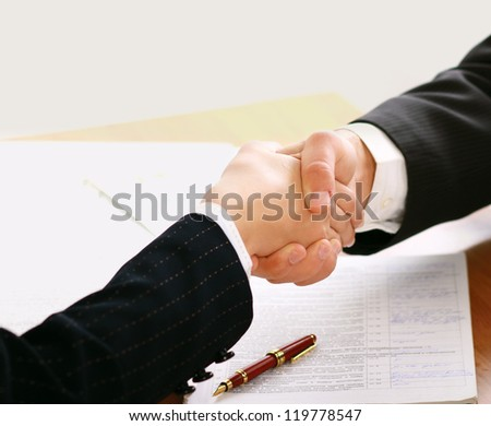 handshake isolated on white background - stock photo