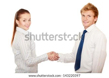 Handshake , isolated on white background - stock photo